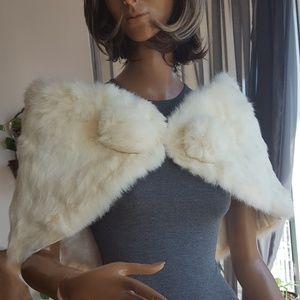 White rabbit fur stole vintage 1960's